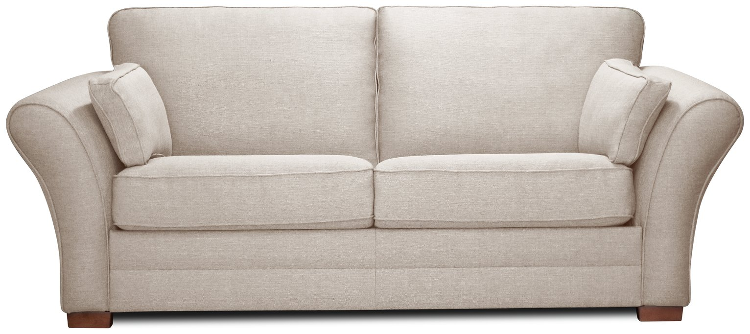 Argos Home New Thornton 3 Seater Fabric Sofa Bed - Natural