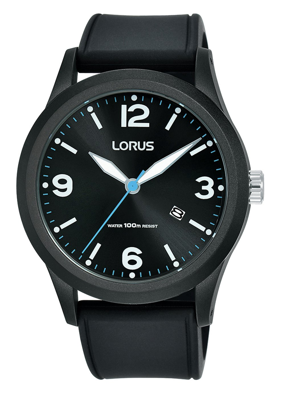 Lorus Men's Black Silicone Strap Watch