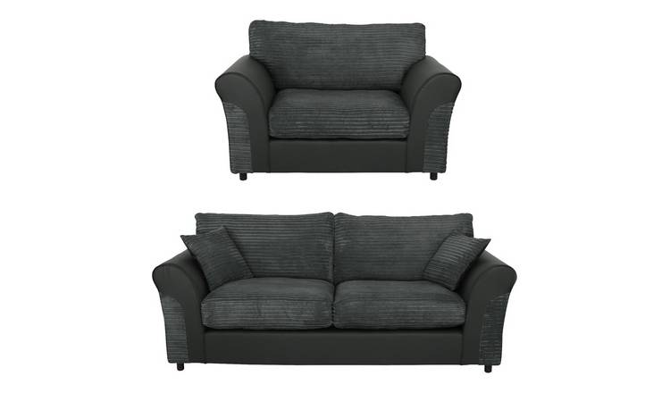 Buy Argos Home Harry Fabric Chair and 3 Seater Sofa - Charcoal ...