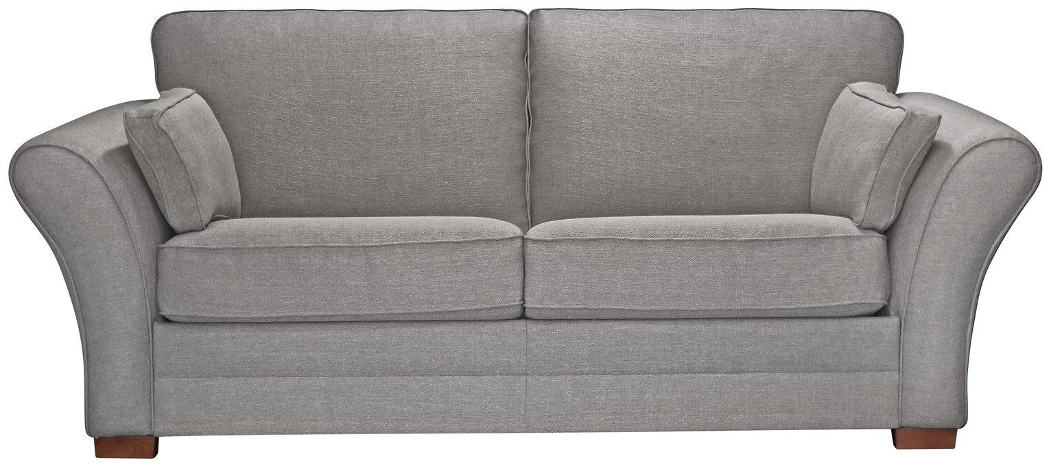 Argos Home New Thornton 3 Seater Fabric Sofa Bed -Light Grey