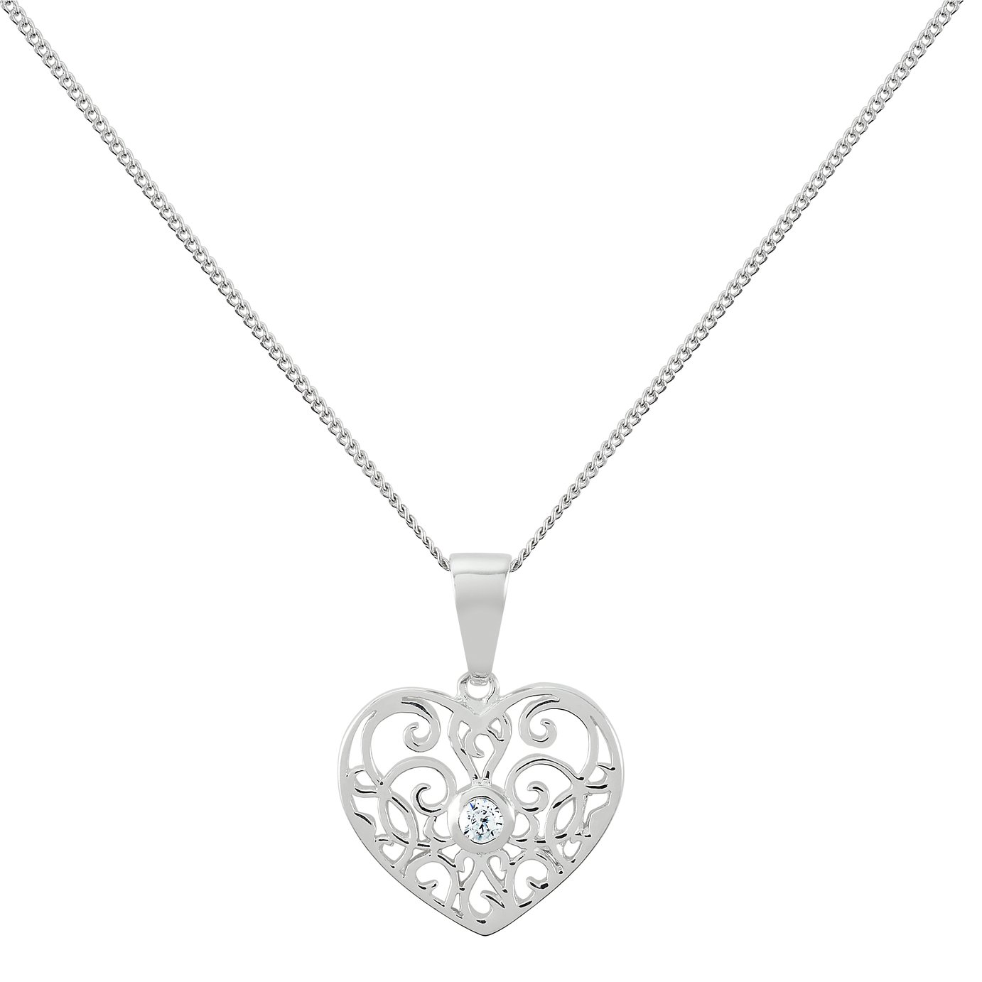 Revere Sterling Silver Filigree Heart Pendant 18in Necklace