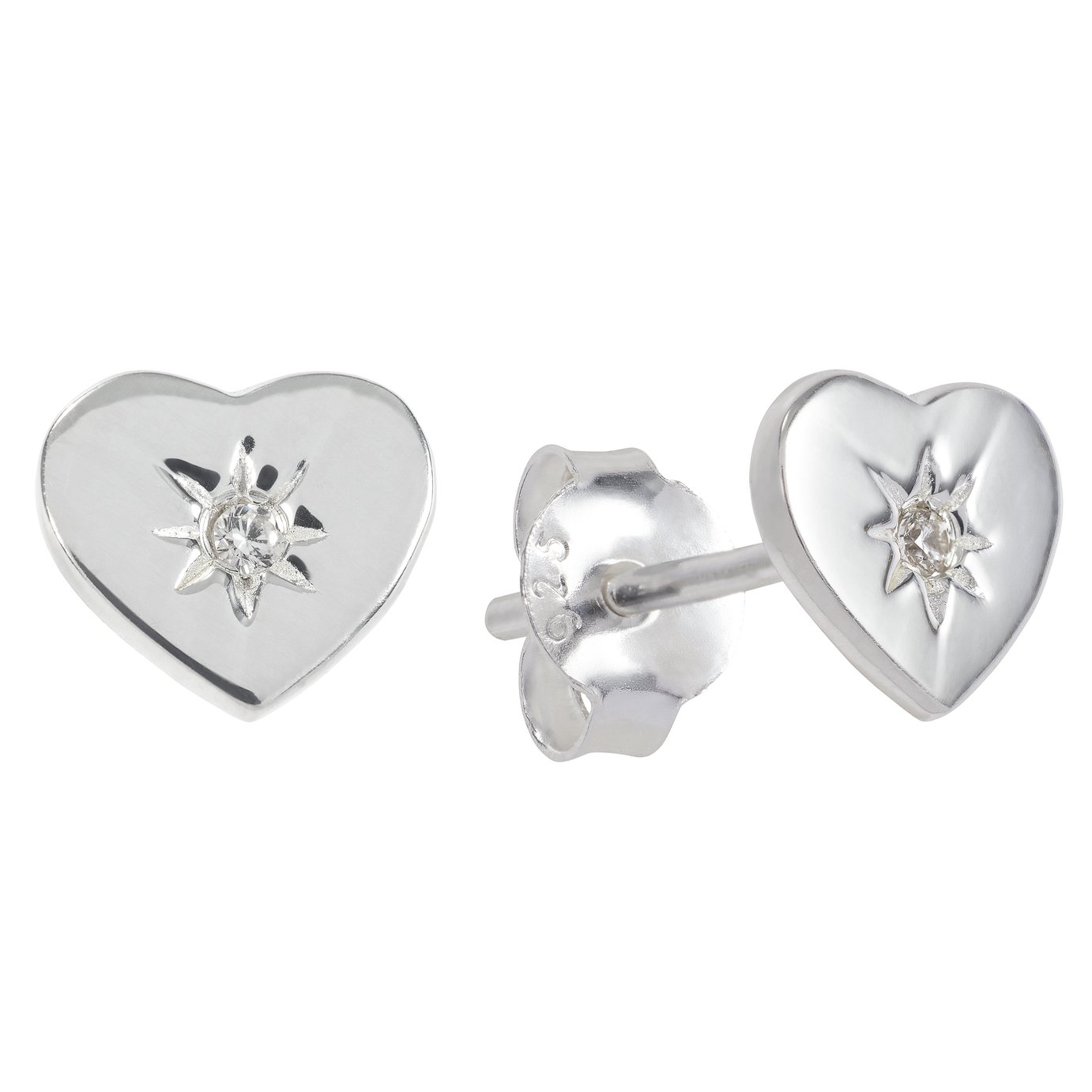 Revere Cubic Zirconia Sterling Silver Heart Stud Earrings