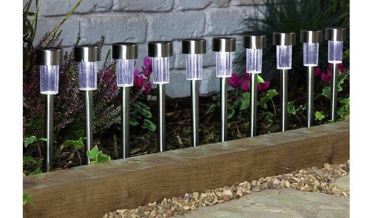 Habitat Set of 10 Stainless Steel Solar Marker Lights