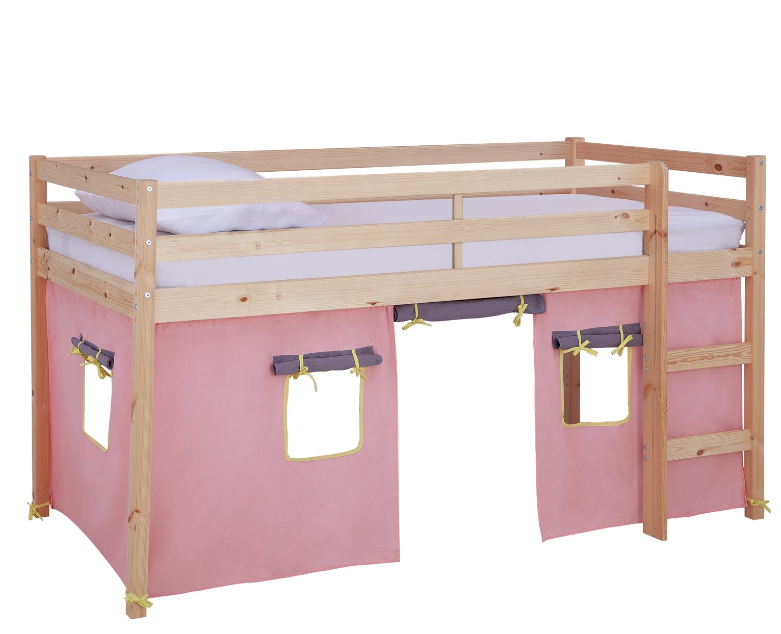 Argos Home Kaycie Pine Mid Sleeper, Rose Tent &Kids Mattress