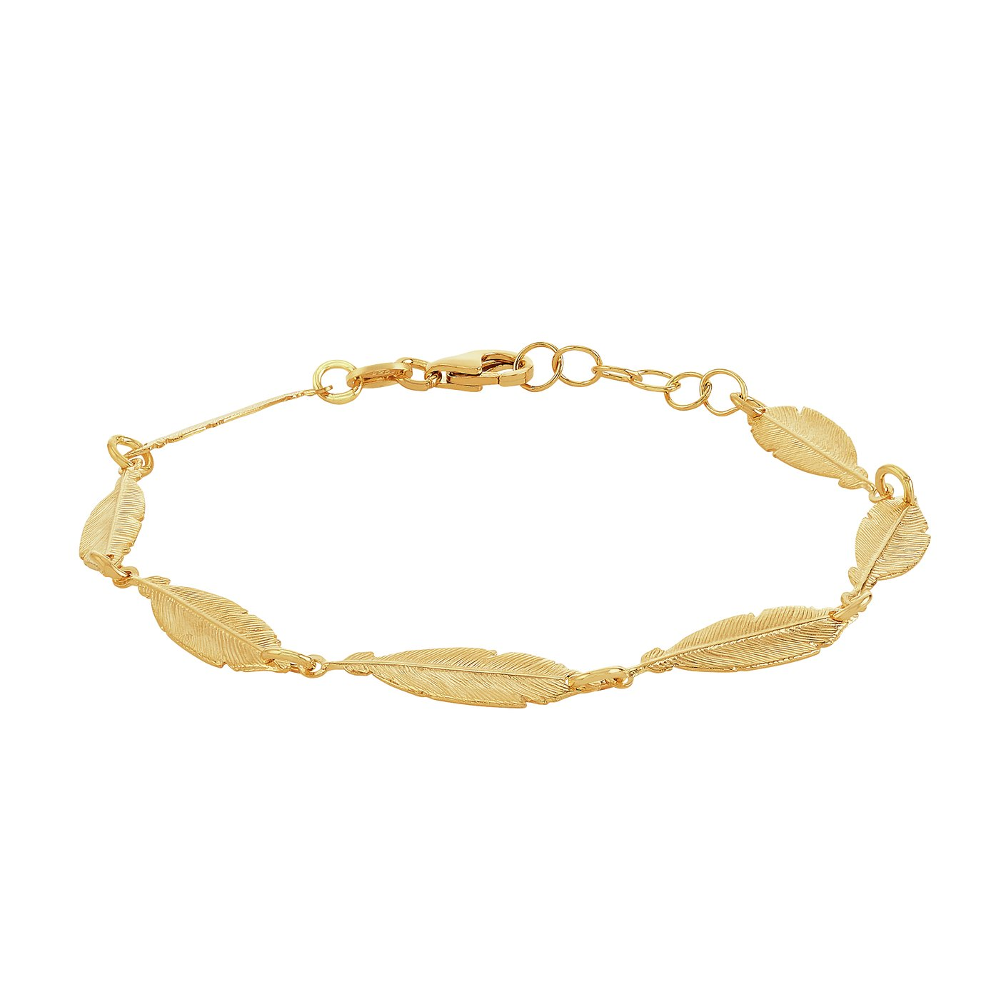Revere 9ct Gold Plated Sterling Silver Feather Bracelet