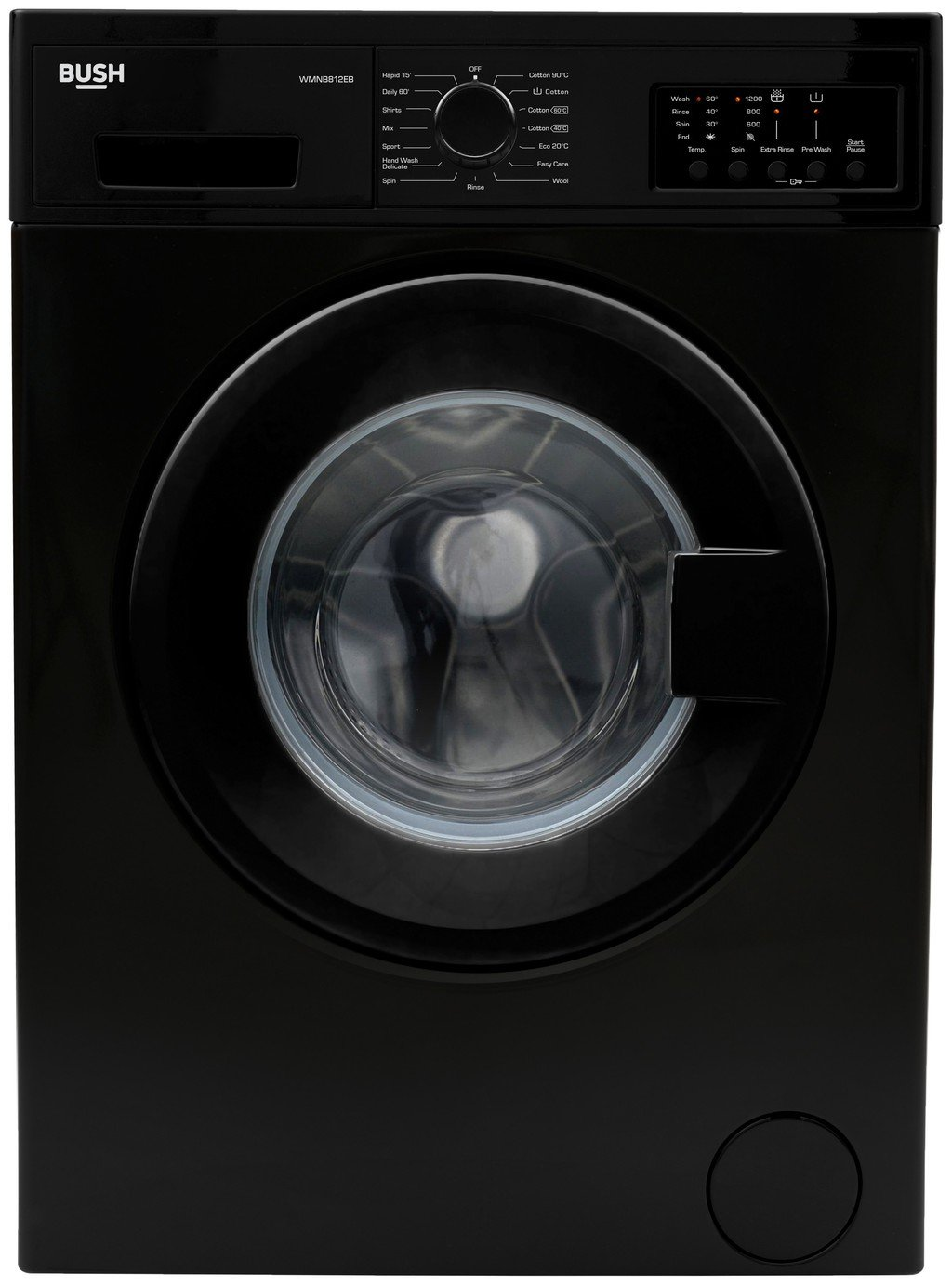 Bush WMNB812EB 8KG 1200 Spin Washing Machine - Black Best Price, Cheapest Prices
