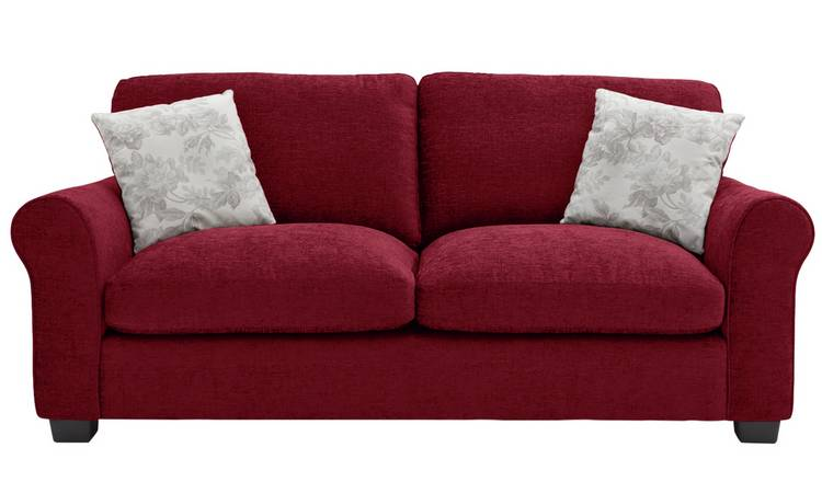 Buy Argos Home Tammy 3 Seater Fabric Sofa - Wine | Sofas | Argos