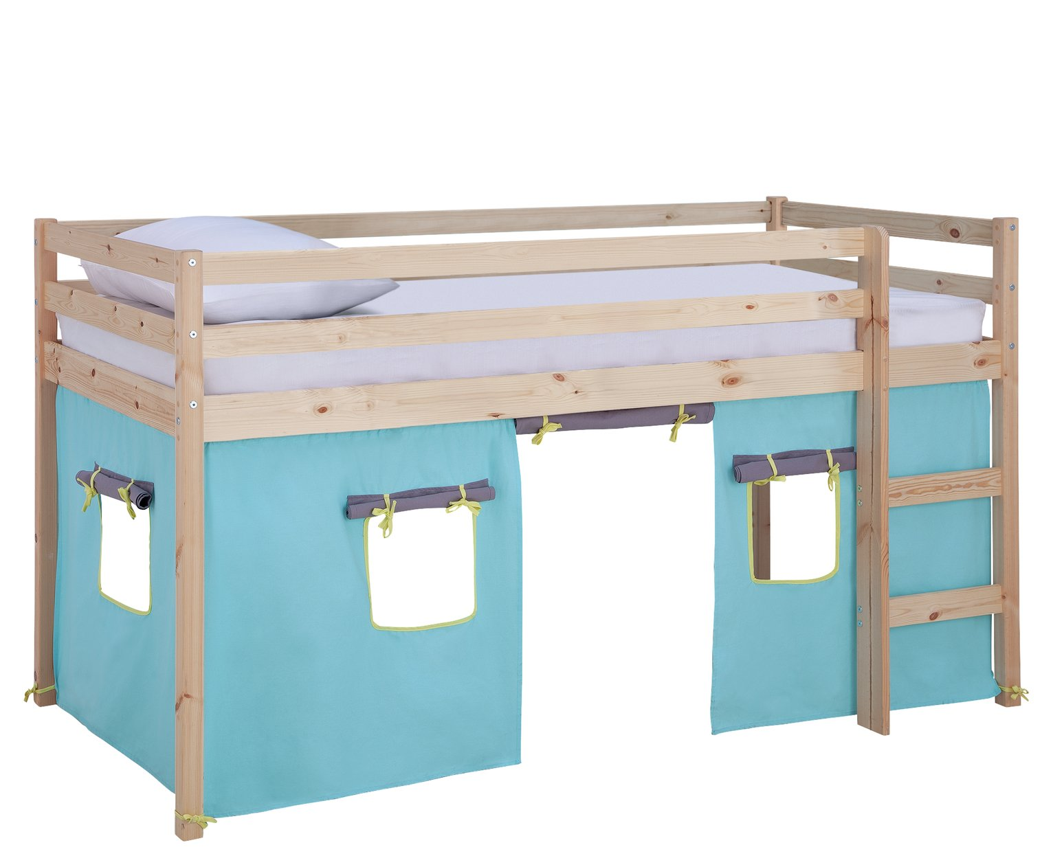 Argos Home Kaycie Pine Mid Sleeper, Blue Tent &Kids Mattress