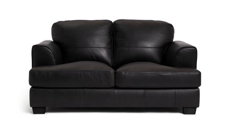 Habitat Elmton 2 Seater Leather Sofa - Black