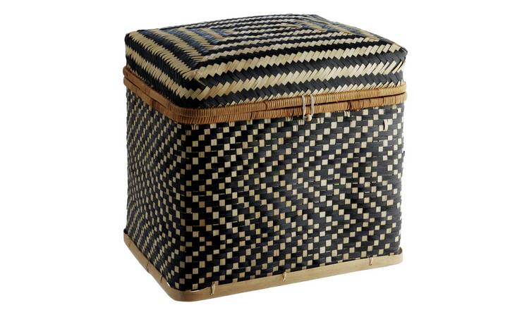Habitat Idaho Black Large Bamboo Weave Trunk