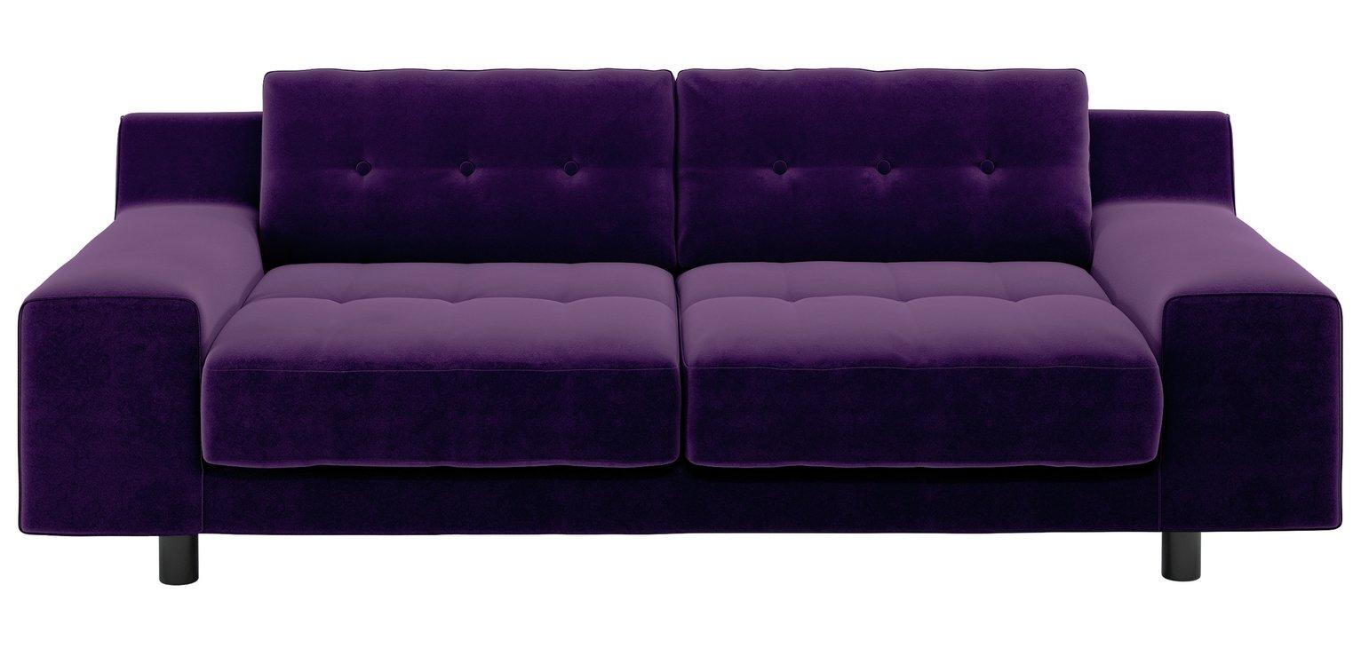 Habitat Hendricks 3 Seater Velvet Sofa - dark purple