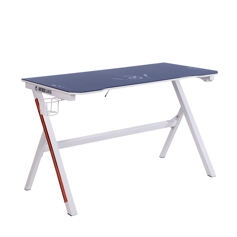 Virtuoso Velar LED Gaming Desk - White and Blue