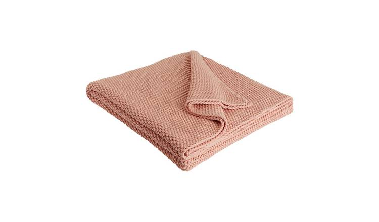 Habitat Paloma Knitted Cotton Throw - 125 x 170cm - Pink