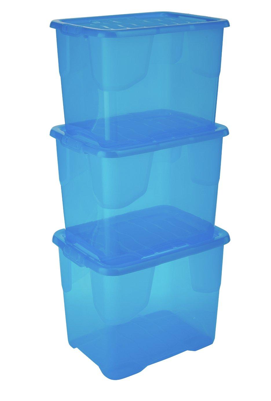 Strata Set of 3 24 Litre Blue Curve Storage Boxes
