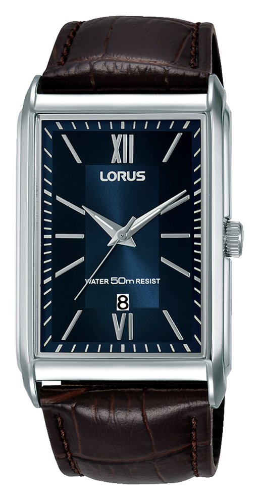 Lorus Blue Dial Mens Brown Leather Strap Watch