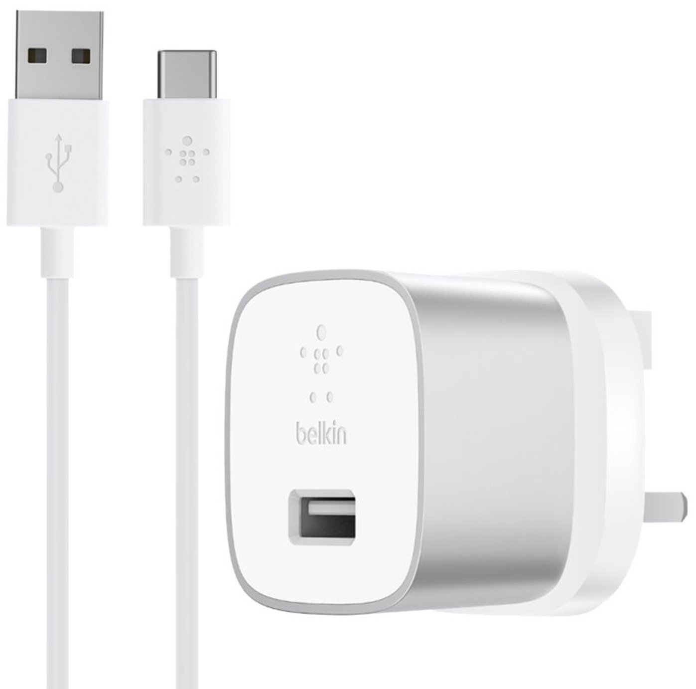 Belkin Wall Charger with USB-A to USB-C Cable - Silver