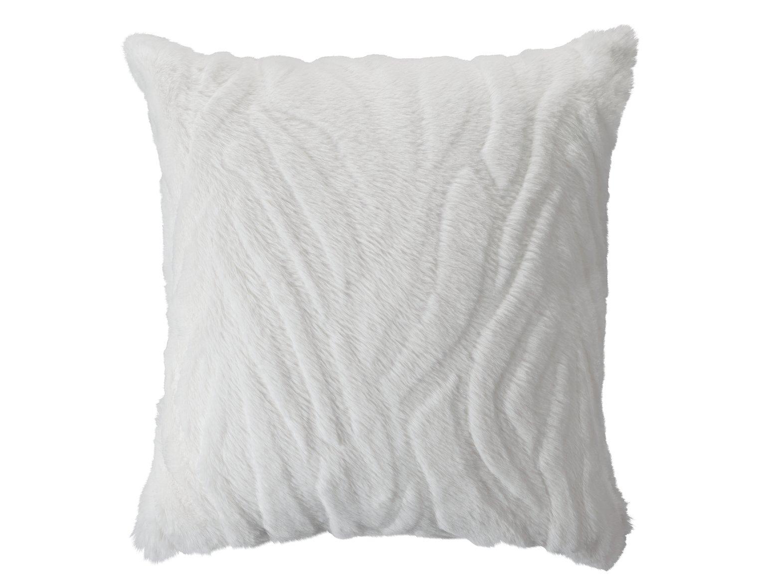 Argos Home Carved Faux Fur Cushion - White
