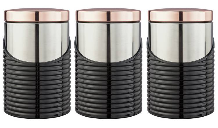 084e6e5c691b Buy Tower Linear Set of 3 Storage Jars - Rose Gold | Limited stock ...