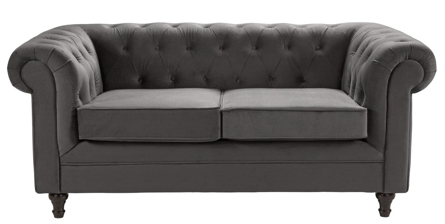 Habitat Chesterfield 2 Seater Velvet Sofa - Charcoal