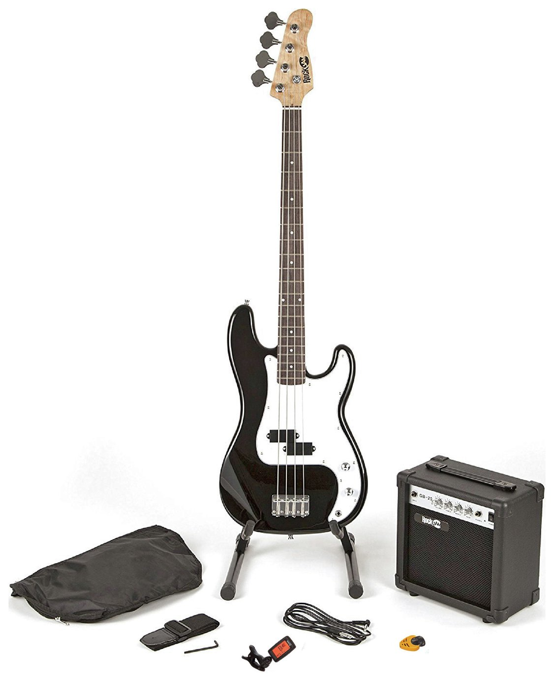 RockJam Electric Bass Guitar Kit With Amp & Tuner - Black