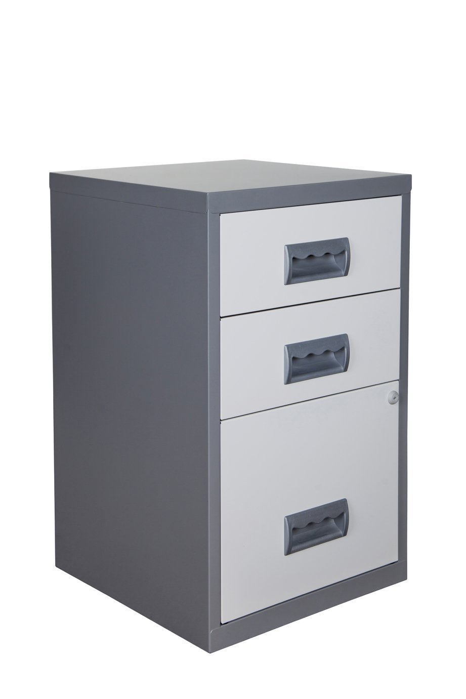 Pierre Henry A4 3 Drawer Combi Filing Cabinet -Silver/ White