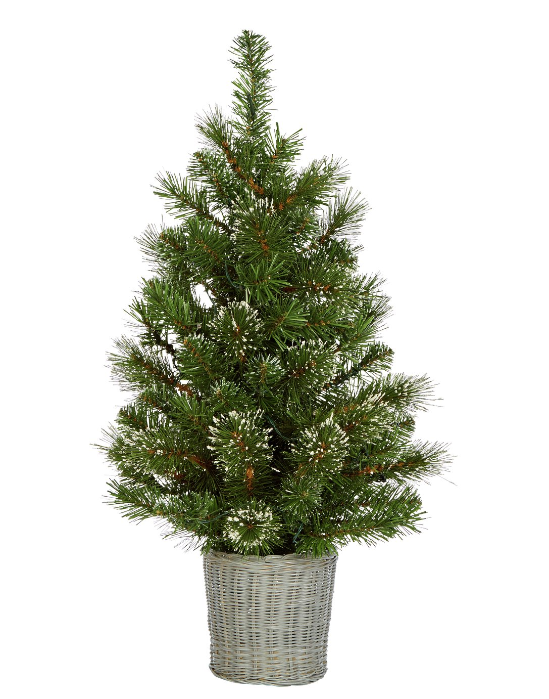 Argos Home 2.5ft Snowy Tree with Warm White Lights & Basket