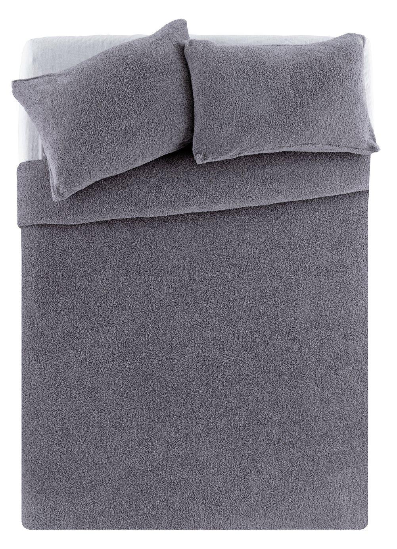 Argos Home Grey Fleece Bedding Set - Double