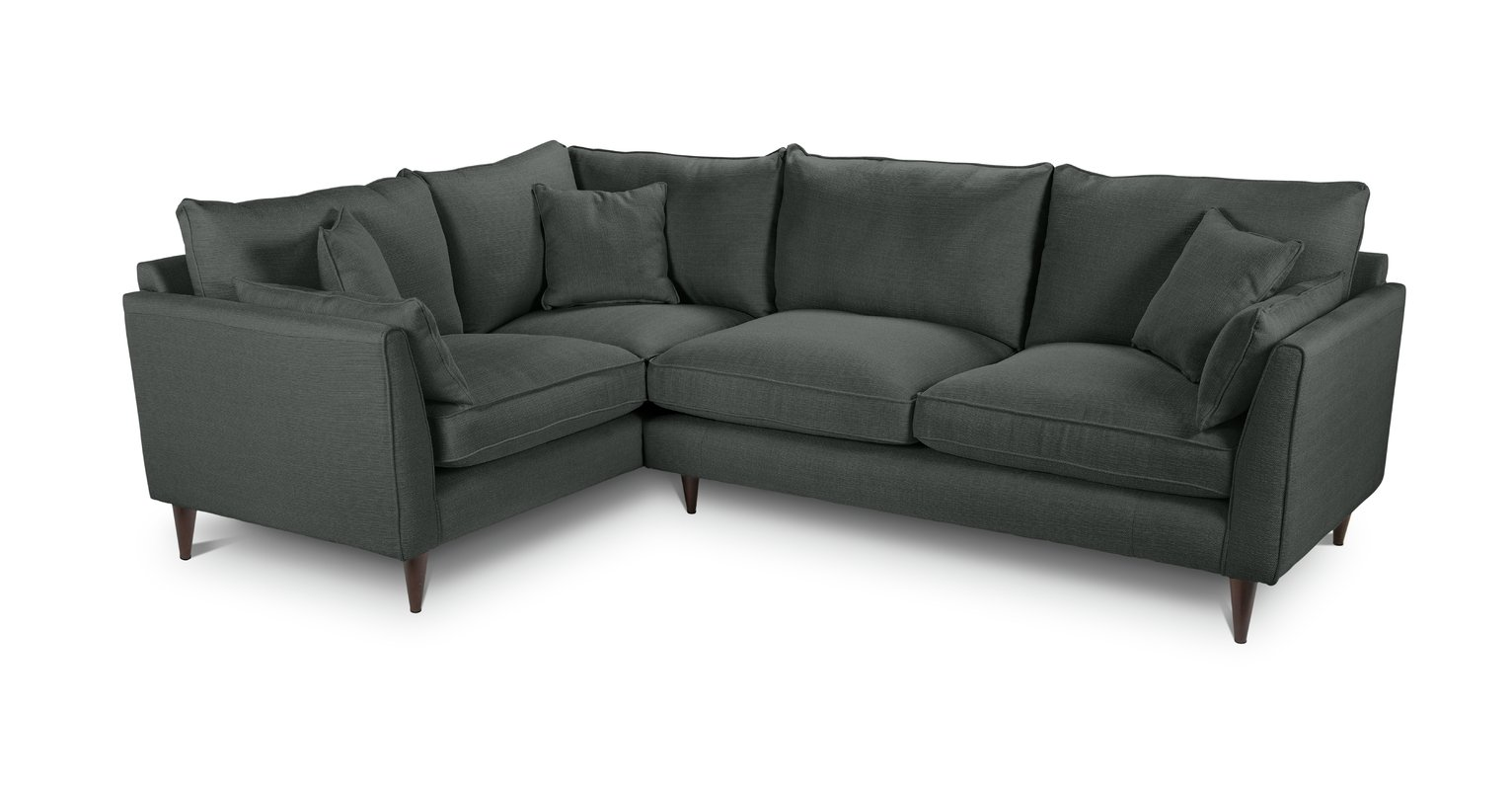 Argos Home Hector Left Corner Fabric Sofa - Charcoal Linen