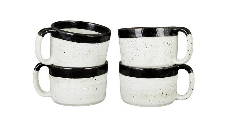 Habitat Savona Set Of 4 Stoneware Mugs with Black Rim