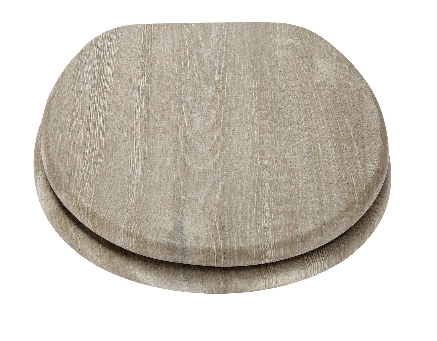 Argos Home Wood Effect Toilet Seat - Grey