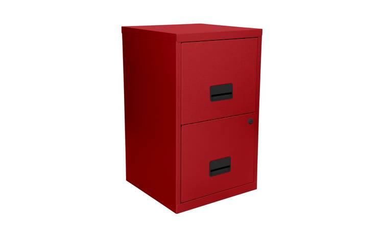 Buy Pierre Henry 2 Drawer Metal Filing Cabinet - Brick Red ...
