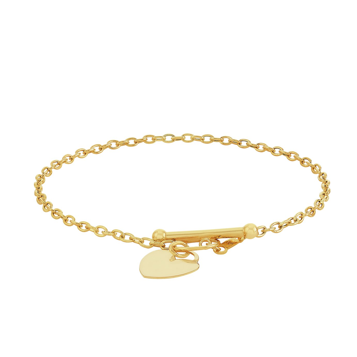Revere 9ct Gold Mini Heart and T-Bar Bracelet