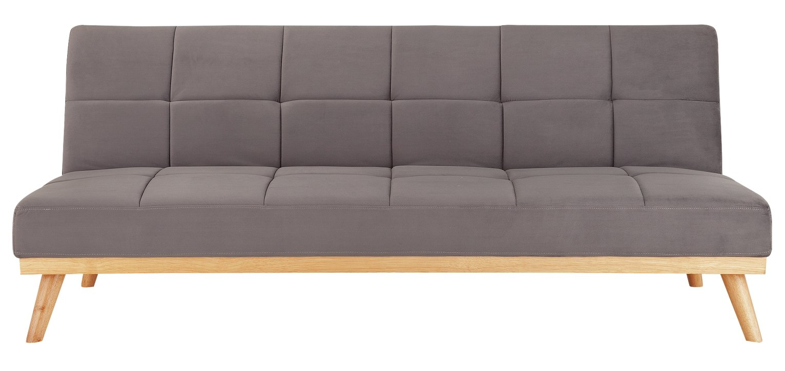 Argos Home Kanso 2 Seater Velvet Clic Clac Sofa Bed - Grey