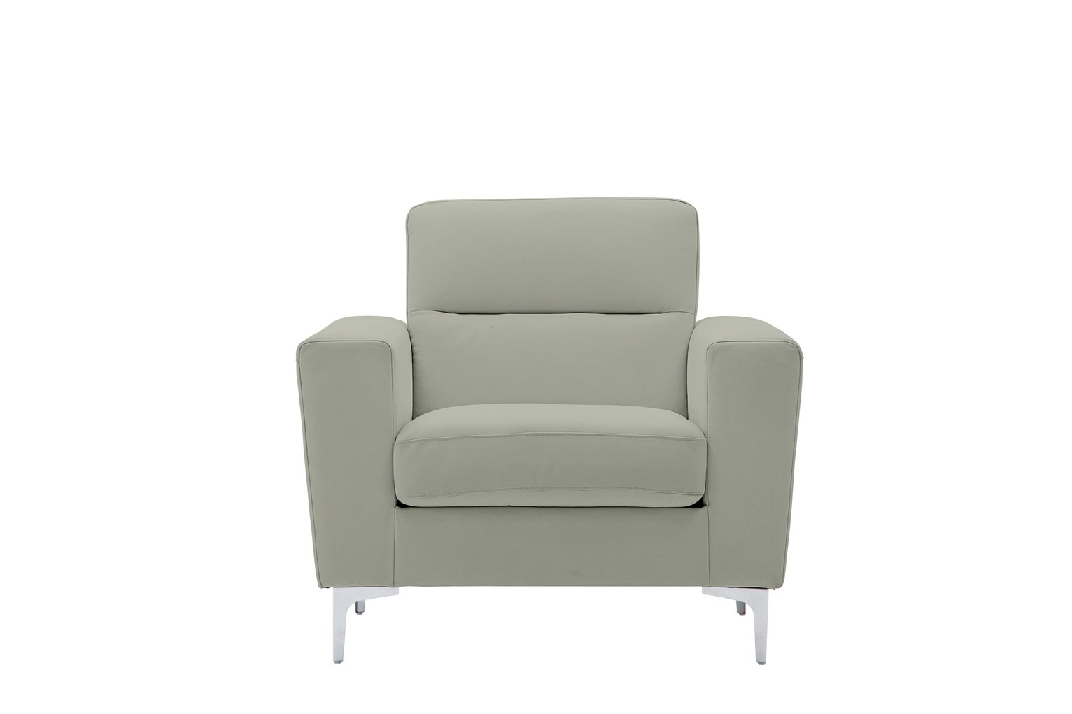 Argos Home Campbell Leather Armchair - Light Grey