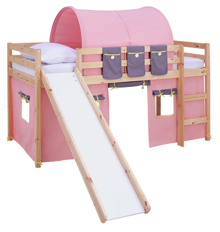 Argos Home Kaycie Pine Midsleeper ,Slide,Rose Tent& Mattress