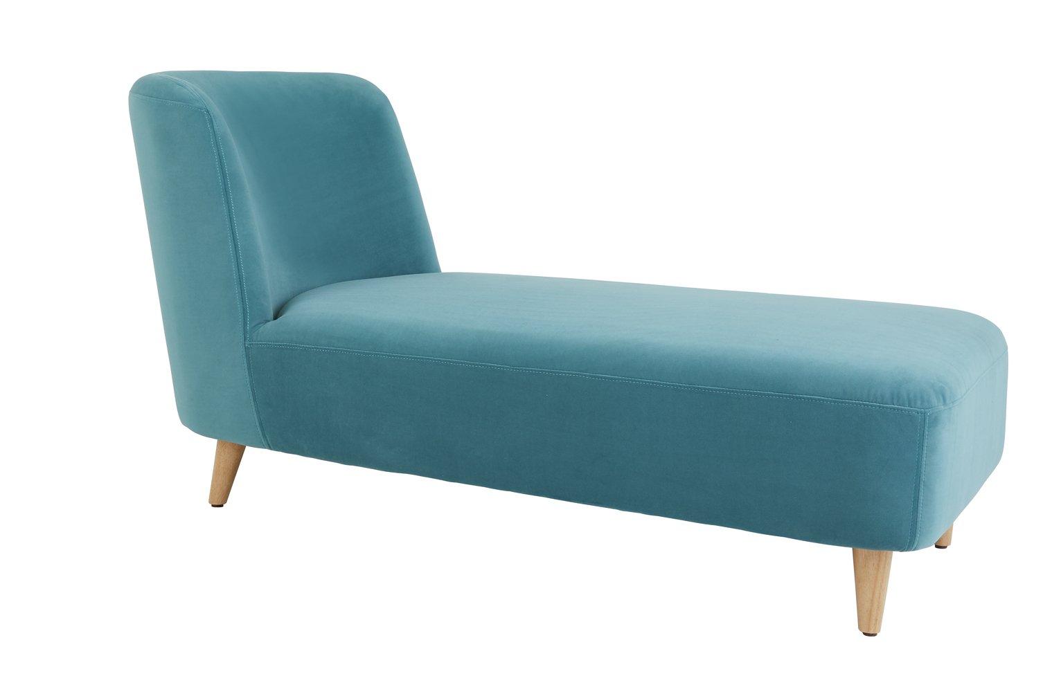 Habitat Daisy Velvet Chaise Sofa - Teal