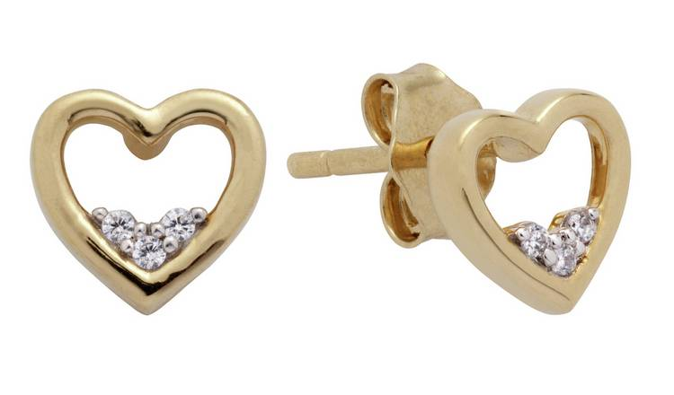 Revere 9ct Gold Plated 0.02ct tw Diamond Open Heart Earrings