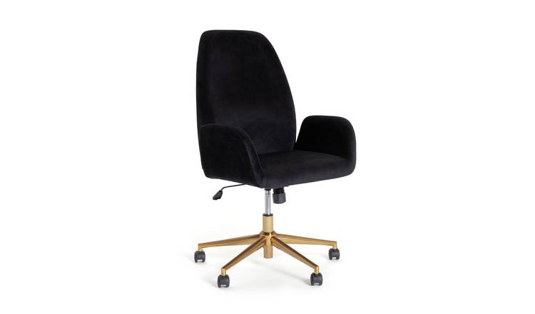 Habitat Clarice Velvet Office Chair - Black