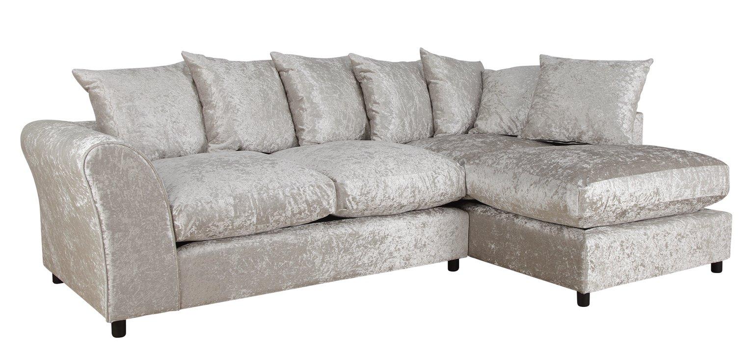 Argos Home Megan Large Right Corner Fabric Sofa - Silver