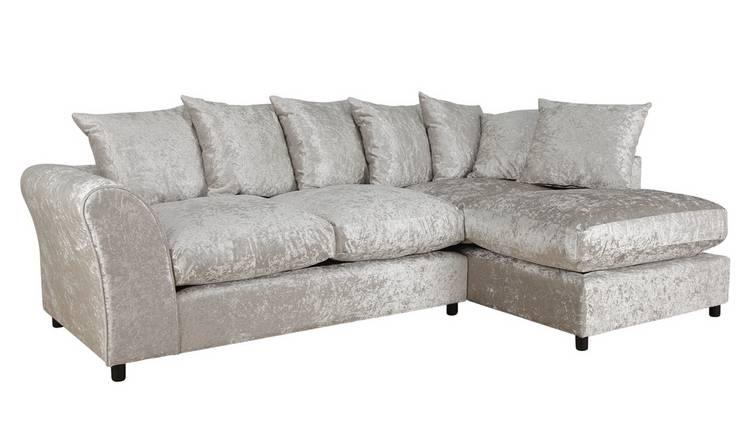 Argos Home Megan Large Right Corner Fabric Sofa - Silver