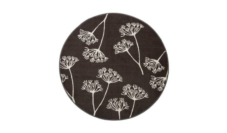 Habitat Cow Parsley Circle Rug - 100x100cm - Grey