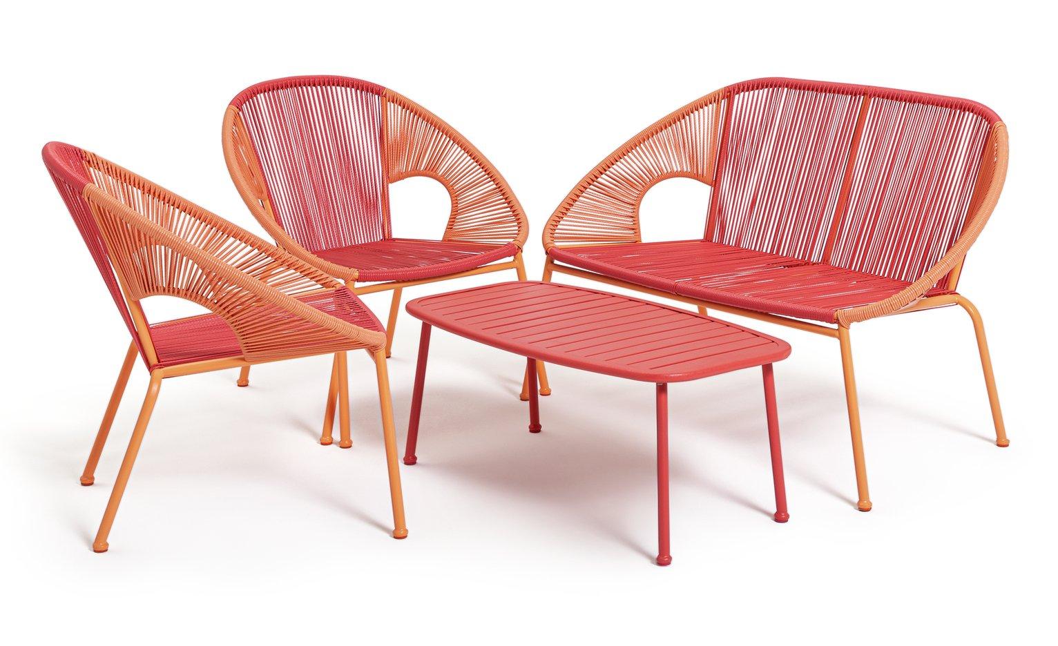 Habitat Nordic Spring 4 Seater Bistro Set - Pink & Orange