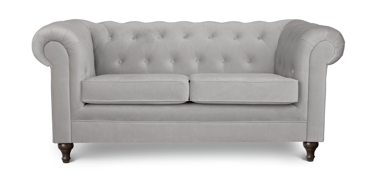 Habitat Chesterfield 2 Seater Velvet Sofa - Light Grey