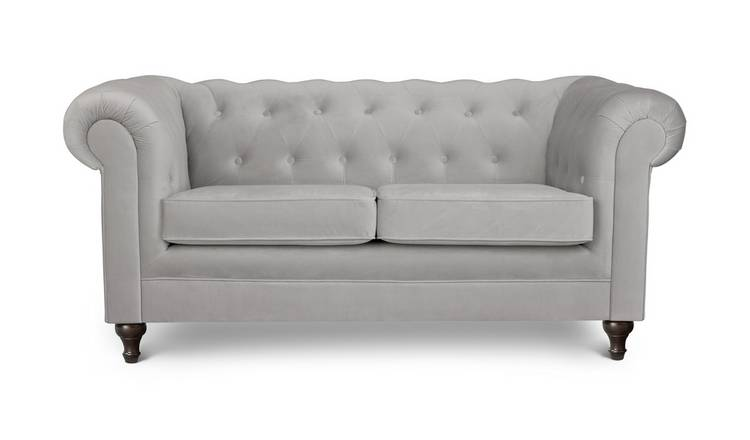 Habitat Chesterfield 2 Seater Velvet Sofa - Light Grey