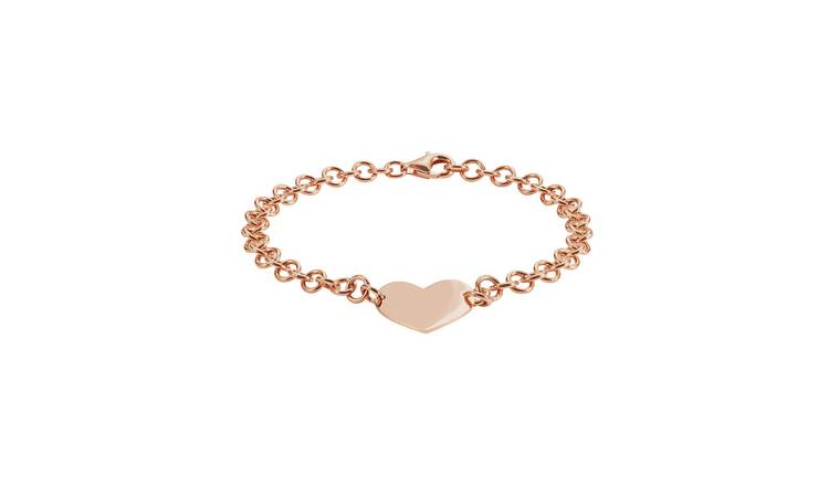 Revere 9ct Rose Gold Plated Silver Heart Bracelet