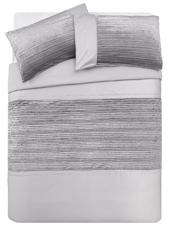 Argos Home Sparkle Silver Velvet Bedding Set - Kingsize