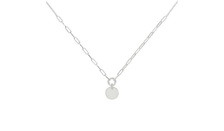 Revere Sterling Silver Large Link Coin Pendant Necklace