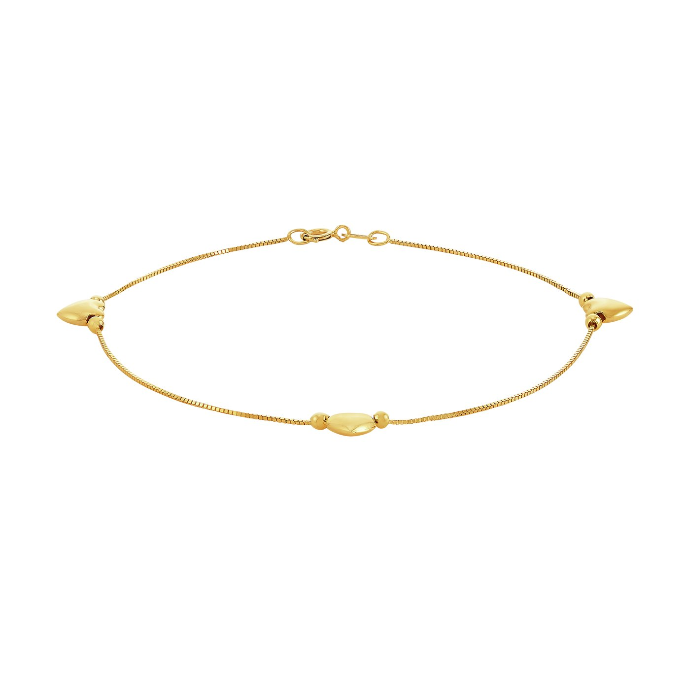 Revere 9ct Gold Box Chain with Heart Charms Bracelet