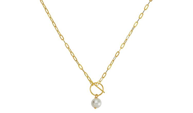 Revere Gold Plated Silver Faux Pearl T-Bar Pendant Necklace
