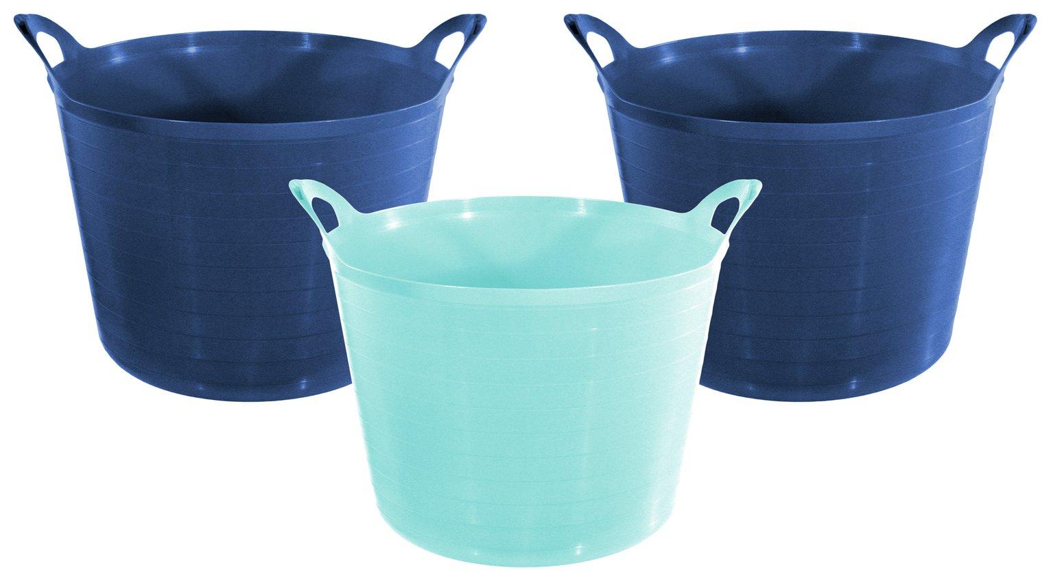 Argos Home Set of 3 27 Litre Blue Flexi Tubs